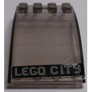 LEGO Transparent Black Hinge Brick 4 x 8 x 2 Curved Locking with 2 Dual Stubs with White 'LEGO CITY' on Black Background Sticker