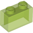 LEGO Transparent Bright Green Brick 1 x 2 without Bottom Tube (3065 / 35743)