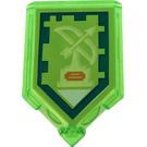 LEGO Transparent Bright Green Tile 2 x 3 Pentagonal with Bowmaster Power Shield