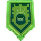 LEGO Transparent Bright Green Tile 2 x 3 Pentagonal with Power Shield Blast Mask