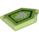 LEGO Transparent Bright Green Tile 2 x 3 Pentagonal with Tech Tree Power Shield (30958)