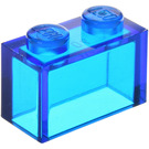 LEGO Transparent Dark Blue Brick 1 x 2 without Bottom Tube (3065 / 35743)