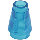 LEGO Transparent Dark Blue Cone 1 x 1 with Top Groove (64288)