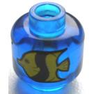 LEGO Transparent Dark Blue Plain Head with Decoration (Safety Stud) (83427)