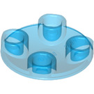 LEGO Transparent Dark Blue Plate 2 x 2 Round with Rounded Bottom (2654 / 28558)