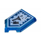 LEGO Transparent Dark Blue Tile 2 x 3 Pentagonal with Drop the Beat Power Shield