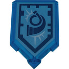 LEGO Transparent Dark Blue Tile 2 x 3 Pentagonal with Hornblower Power Shield