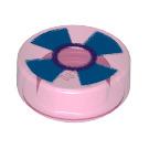 LEGO Transparent Dark Pink Tile 1 x 1 Round with Decoration (30675)