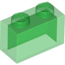 LEGO Transparent Green Brick 1 x 2 without Bottom Tube (3065 / 35743)