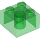 LEGO Transparent Green Brick 2 x 2 (6223 / 35275)