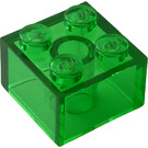 LEGO Transparent Green Brick 2 x 2 (6223 / 35275)