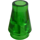 LEGO Transparent Green Cone 1 x 1 without Top Groove (4589 / 6188)
