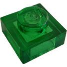 LEGO Transparent Green Plate 1 x 1 (3024 / 28554)
