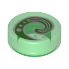 LEGO Transparent Green Tile 1 x 1 Round with Decoration (66504)