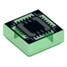 LEGO Transparent Green Tile 1 x 1 with Ultra Chip with Groove (18512)