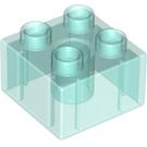 LEGO Transparent Light Blue Duplo Brick 2 x 2 (17556 / 20678 / 31460)