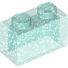 LEGO Transparent Light Blue Glitter Brick 1 x 2 without Bottom Tube (35743)