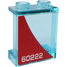 LEGO Transparent Light Blue Panel 1 x 2 x 2 with '60222' (Right Side) Sticker with Side Supports, Hollow Studs