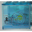 LEGO Transparent Light Blue Panel 1 x 4 x 3 with Current Sonar and Octopus Sticker without Side Supports, Hollow Studs