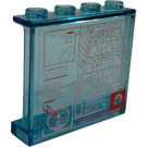 LEGO Transparent Light Blue Panel 1 x 4 x 3 with Target Solutions and Scans Sticker with Side Supports, Hollow Studs