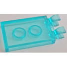 LEGO Transparent Light Blue Tile 2 x 3 with Horizontal Clips (Thick Open 'O' Clips) (30350)