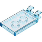 LEGO Transparent Light Blue Tile 2 x 3 with Horizontal Clips with Solar Panel Sticker from Set 60078