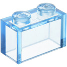 LEGO Transparent Medium Blue Brick 1 x 2 without Bottom Tube (3065)