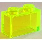 LEGO Transparent Neon Green Brick 1 x 2