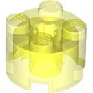 LEGO Transparent Neon Green Brick 2 x 2 Round (6116)