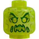 LEGO Transparent Neon Green Ghost Head (Recessed Solid Stud)