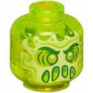LEGO Transparent Neon Green Head with Alien Ghost Face (Recessed Solid Stud) (56184)