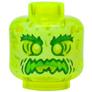 LEGO Transparent Neon Green Plain Head with Decoration (Recessed Solid Stud) (60595)