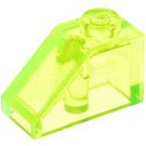LEGO Transparent Neon Green Slope 1 x 2 (45°) (6270)