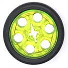 LEGO Transparent Neon Green Wedge Belt Wheel with Tire for Wedge-Belt Wheel/Pulley