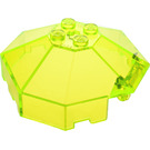LEGO Transparent Neon Green Windscreen 6 x 6 Octagonal Canopy with Axle Hole (2418)