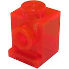 LEGO Transparent Neon Reddish Orange Brick 1 x 1 with Headlight and No Slot