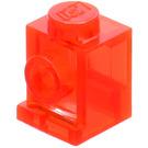 LEGO Transparent Neon Reddish Orange Brick 1 x 1 with Headlight and Slot (4070)