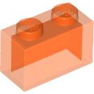 LEGO Transparent Neon Reddish Orange Brick 1 x 2 without Bottom Tube (3065)