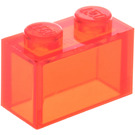 LEGO Transparent Neon Reddish Orange Brick 1 x 2 without Bottom Tube (3065 / 35743)