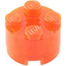 LEGO Transparent Neon Reddish Orange Brick 2 x 2 Round (6116 / 39223)
