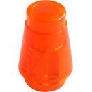 LEGO Transparent Neon Reddish Orange Cone 1 x 1 with Top Groove (28701 / 64288)