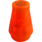 LEGO Transparent Neon Reddish Orange Cone 1 x 1 without Top Groove (4589 / 6188)