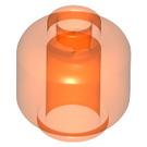 LEGO Transparent Neon Reddish Orange Plain Head (Safety Stud) (28621)