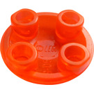 LEGO Transparent Neon Reddish Orange Plate 2 x 2 Round with Rounded Bottom (2654 / 28558)