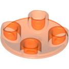 LEGO Transparent Neon Reddish Orange Plate 2 x 2 Round with Rounded Bottom (2654 / 28558 / 54196)