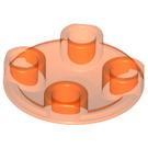 LEGO Transparent Neon Reddish Orange Round Plate 2 x 2 with Rounded Bottom (2654 / 28558 / 54196)