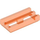 LEGO Transparent Neon Reddish Orange Tile 1 x 2 Grille (with Bottom Groove) (30244 / 35248)
