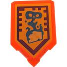 LEGO Transparent Neon Reddish Orange Tile 2 x 3 Pentagonal with Foul Steam Power Shield