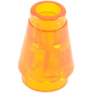 LEGO Transparent Orange Cone 1 x 1 with Top Groove (28701 / 64288)