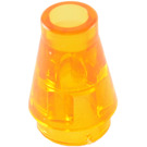 LEGO Transparent Orange Cone 1 x 1 without Top Groove (6188)